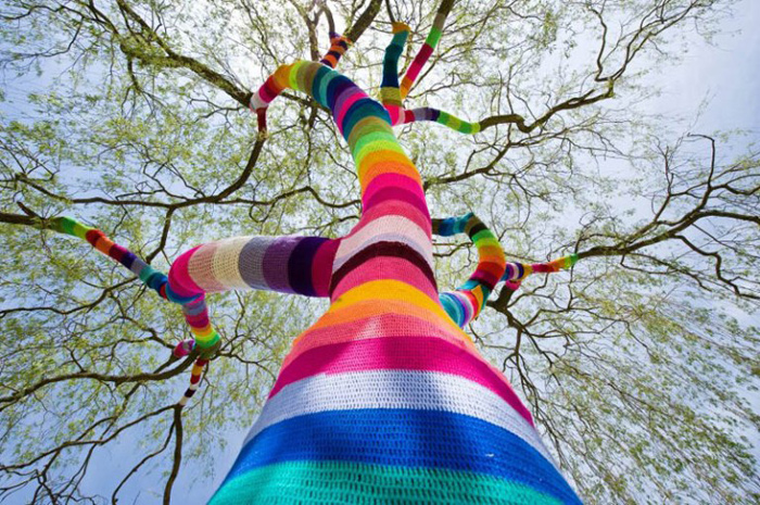 even trees get covered in yarn
